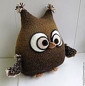 Для дома и интерьера ручной работы. Ярмарка Мастеров - ручная работа Сова-подушка коричневая большая. Handmade.