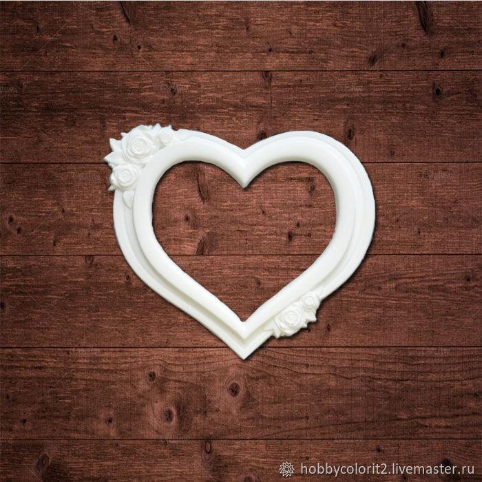 """Рамка в форме сердца с розами"""" Размер 70х60 мм, Материалы, Москва, Фото №1"""