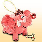 Сувениры и подарки handmade. Livemaster - original item Elephant ceramic bell. pink elephant. Elephant out of clay.. Handmade.
