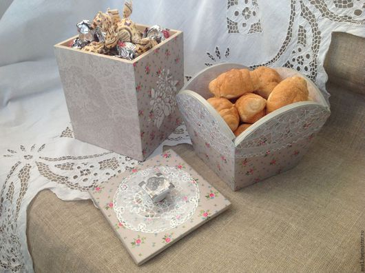 """Кухня ручной работы. Ярмарка Мастеров - ручная работа. Купить """"Бабушкины кружева"""" Короб и конфетница. Handmade. Подарок, подарок подруге"""