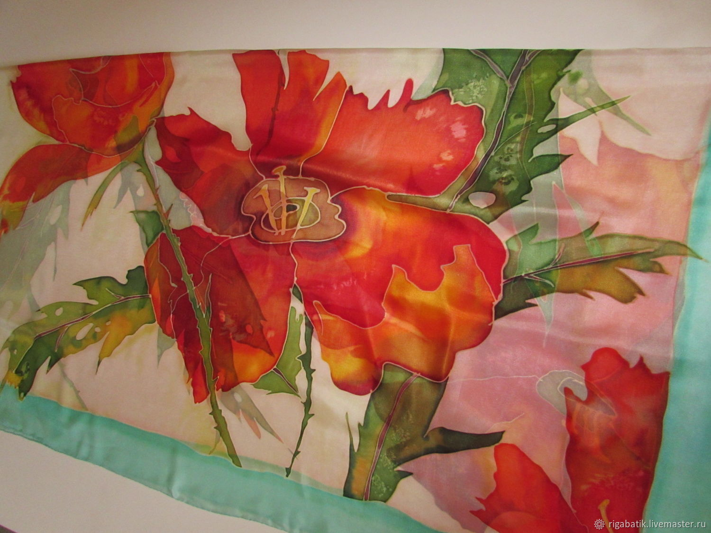 Batik shawl huge size' Favorite flowers', Shawls1, Riga,  Фото №1
