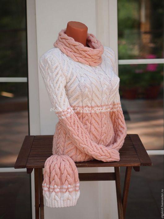 Кофты и свитера ручной работы. Ярмарка Мастеров - ручная работа. Купить Двухцветный вязаный пуловер. Handmade. Белый, пуловер вязаный