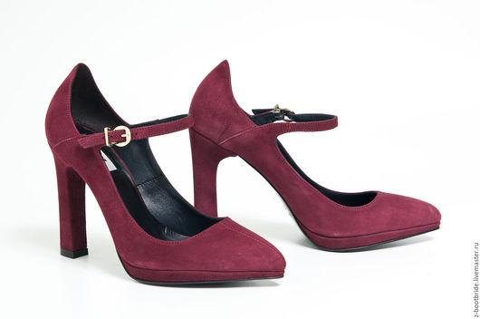 Обувь ручной работы. Ярмарка Мастеров - ручная работа. Купить туфли Note вишнёвые. Handmade. Бордовый, туфли, Замша натуральная