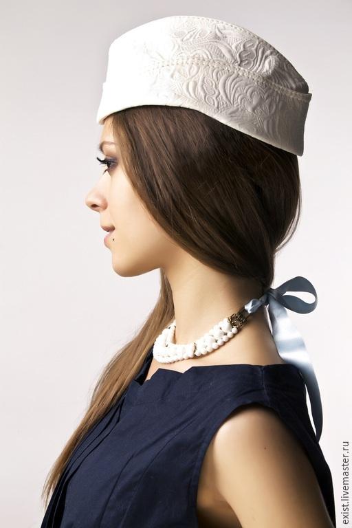 Шляпы ручной работы. Ярмарка Мастеров - ручная работа. Купить Пилотка с отворотом. Handmade. Белый, свадьба, пилотка