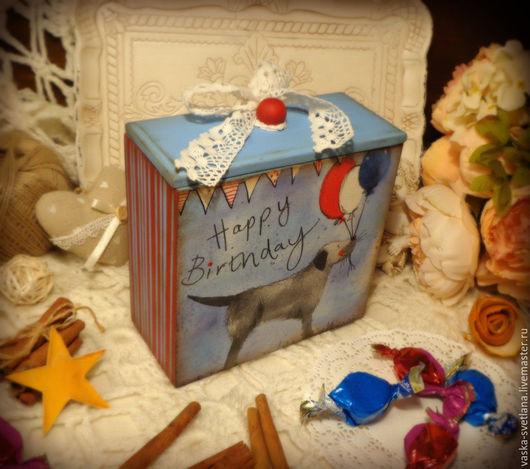 """Персональные подарки ручной работы. Ярмарка Мастеров - ручная работа. Купить Короб для подарка ребёнку """"Happy Birthday"""". Handmade. Короб"""