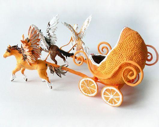 """Техника ручной работы. Ярмарка Мастеров - ручная работа. Купить игрушка """"Карета с тройкой пегасов - апельсин в шоколаде"""". Handmade. Апельсин"""