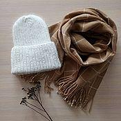Аксессуары handmade. Livemaster - original item Hat and scarf set white beige. Handmade.