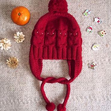 Аксессуары ручной работы. Ярмарка Мастеров - ручная работа Красная шапочка - детская шапка с совами, ушками и завязками, шерсть. Handmade.