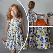 Работы для детей, ручной работы. Ярмарка Мастеров - ручная работа Платье летнее с ромашками 116-122. Handmade.