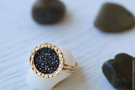 Кольца ручной работы. Ярмарка Мастеров - ручная работа. Купить Позолоченное кольцо с черными друзами кварца. Handmade. Золотой