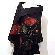 Аксессуары handmade. Livemaster - original item Red poppies - paladin felted on silk. Handmade.