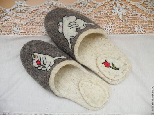 """Обувь ручной работы. Ярмарка Мастеров - ручная работа. Купить Тапочки валяные, войлочные ,из шерсти.""""Мумми-троли"""". Handmade. Разноцветный"""