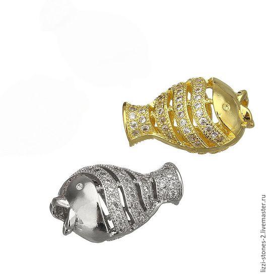 Бусина Рыба, серебро и золото (Milano) Евгения (Lizzi-stones-2)