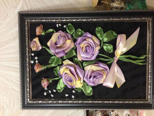 Картины цветов ручной работы. Ярмарка Мастеров - ручная работа. Купить Сиреневый букет из роз. Handmade. Сиреневый, атласные ленты