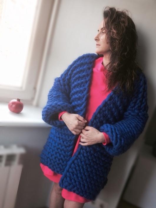Кофты и свитера ручной работы. Ярмарка Мастеров - ручная работа. Купить кардиган крупной вязки из мериноса. Handmade. Синий