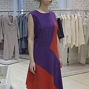 Одежда ручной работы. Ярмарка Мастеров - ручная работа Сарафан в пол летний длинный льняной красный фиолет на лето. Handmade.