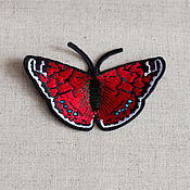 Материалы для творчества ручной работы. Ярмарка Мастеров - ручная работа Аппликация клеевая , вышивка бабочка ( красная). Handmade.