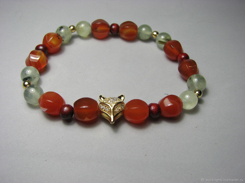 Bracelet carnelian and prenit ' Fox', Bead bracelet, Moscow,  Фото №1