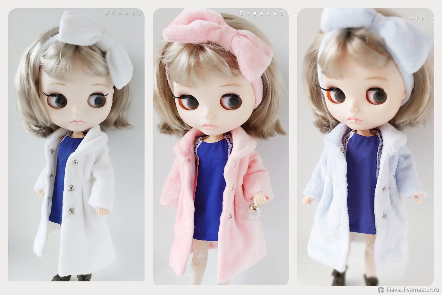 Blythe fur coat-bow coat on the head in blue pink and white colors, Clothes for dolls, Arkhangelsk,  Фото №1