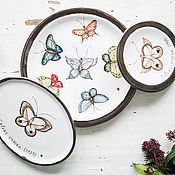 Посуда handmade. Livemaster - original item Collection of butterflies. Set of 3 saucers, ceramic. Handmade.