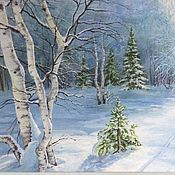 Картины и панно handmade. Livemaster - original item The picture Winter fairy tale landscape, oil, snow-covered forest, landscape, blue. Handmade.