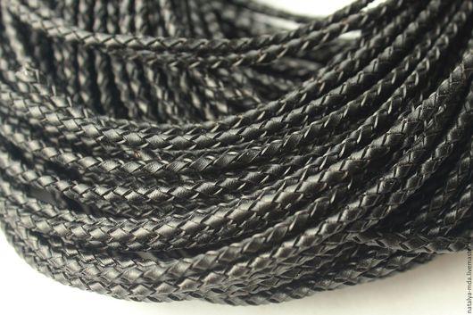 Для украшений ручной работы. Ярмарка Мастеров - ручная работа. Купить Шнур кожаный плетеный 3мм. Handmade. Черный, из кожи