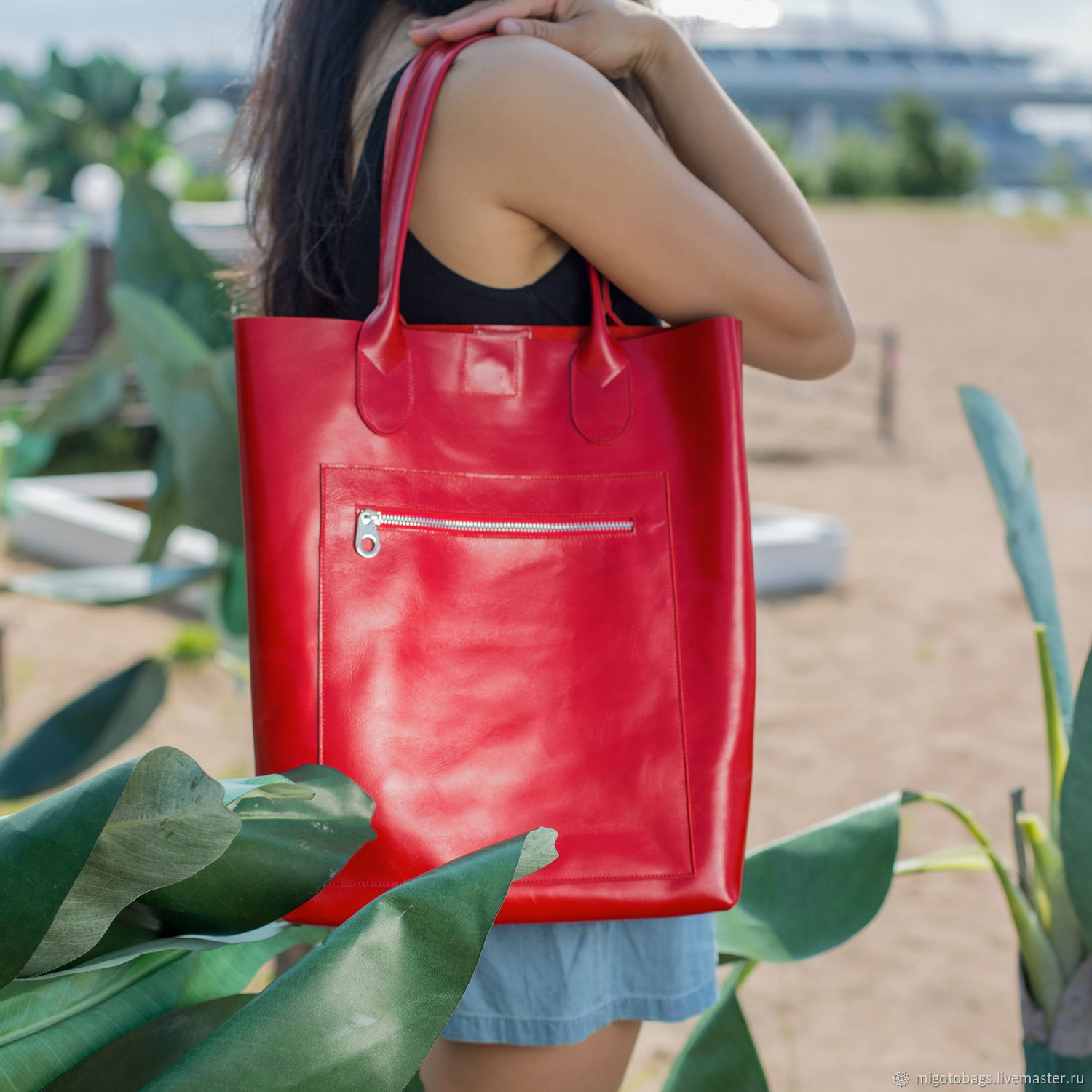 Women's leather bag shopper red(leather bag), Classic Bag, St. Petersburg,  Фото №1