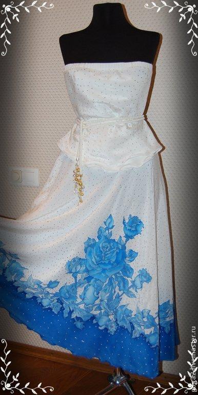 """Одежда и аксессуары ручной работы. Ярмарка Мастеров - ручная работа. Купить Свадебное платье , костюм """"Голубые розы"""" батик. Handmade."""