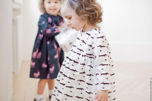 Одежда для девочек, ручной работы. Ярмарка Мастеров - ручная работа. Купить Платье для девочки. Handmade. Белый, платье с лисами