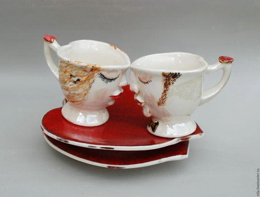 """Сервизы, чайные пары ручной работы. Ярмарка Мастеров - ручная работа. Купить """"Жених и Невеста"""". Кофейные пары.. Handmade. Комбинированный"""