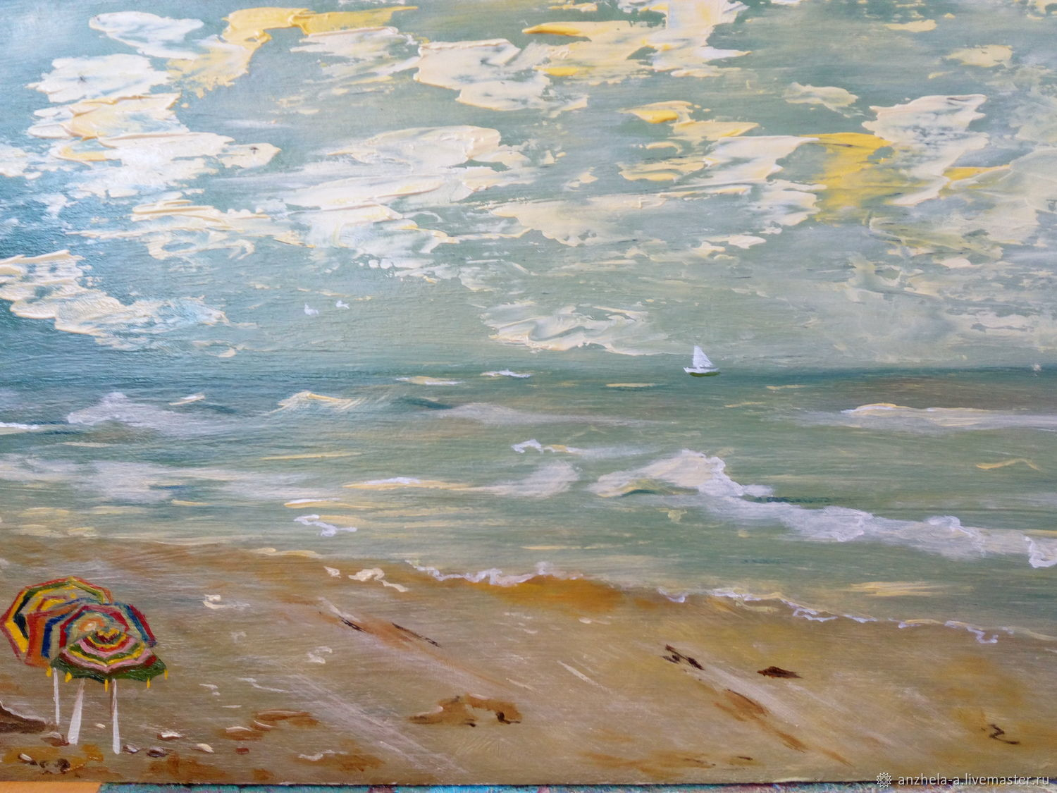 The painting 'Evening beach' oil, Pictures, Moscow,  Фото №1