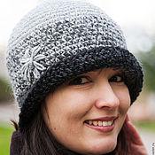 Аксессуары ручной работы. Ярмарка Мастеров - ручная работа Женская шляпка черная, вязаная шляпа шапка (серый, графит). Handmade.