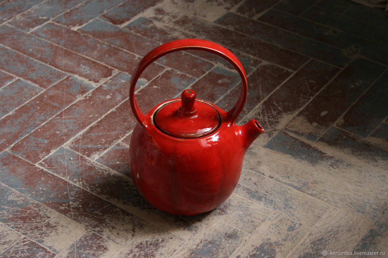 Керамический заварочный чайник красного цвета, Чайники, Санкт-Петербург,  Фото №1