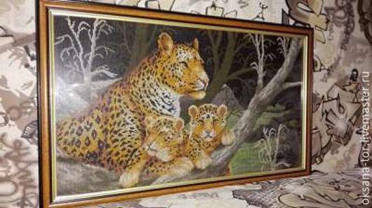 Животные ручной работы. Ярмарка Мастеров - ручная работа. Купить Леопарды. Handmade. Вышивка, картина, картина в подарок, Вышитая картина