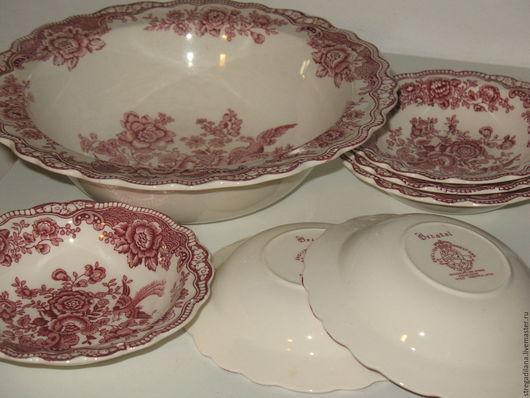 """Винтажная посуда. Ярмарка Мастеров - ручная работа. Купить винтажныи набор фарфоровых салатников """"Bristol"""". Handmade. Разноцветный, старинный фарфор"""