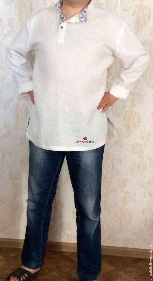 Для мужчин, ручной работы. Ярмарка Мастеров - ручная работа. Купить Льняная мужская рубашка косоворотка.. Handmade. Рубашка