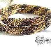 Украшения handmade. Livemaster - original item Harness from Japanese beads, brown Golden