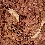 """Аксессуары ручной работы. Ярмарка Мастеров - ручная работа """"Молочный шоколад""""Серия""""Сказки востока""""палантин.батик. 90-200см.. Handmade."""