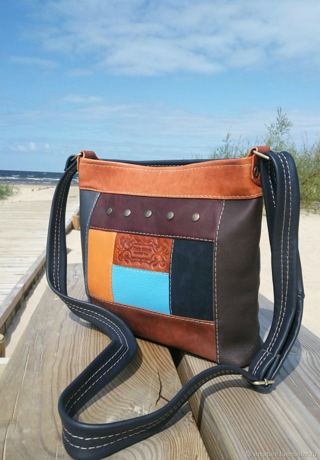 Bag ,genuine leather ,leather patchwork 'Summer time ', Classic Bag, Riga,  Фото №1