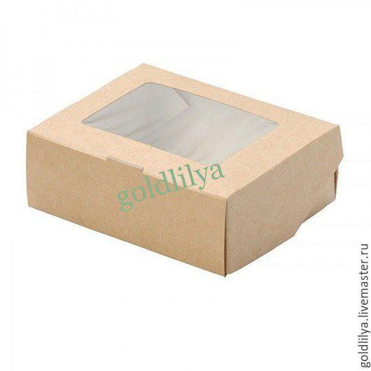 Упаковка ручной работы. Ярмарка Мастеров - ручная работа. Купить Коробочка из крафт картона 10х8х3см с окном под пленкой. Handmade.