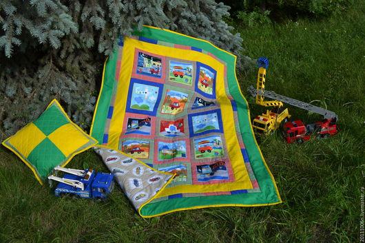 """Детская ручной работы. Ярмарка Мастеров - ручная работа. Купить детское лоскутное покрывало/одеяло  """" машинки """". Handmade. Комбинированный"""