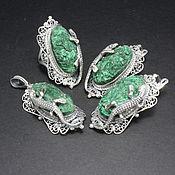 Украшения handmade. Livemaster - original item Lizard jewelry set with malachite in 925 silver AN0020. Handmade.