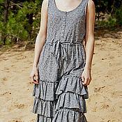 Одежда ручной работы. Ярмарка Мастеров - ручная работа Серо-синее платье Бохо. Handmade.