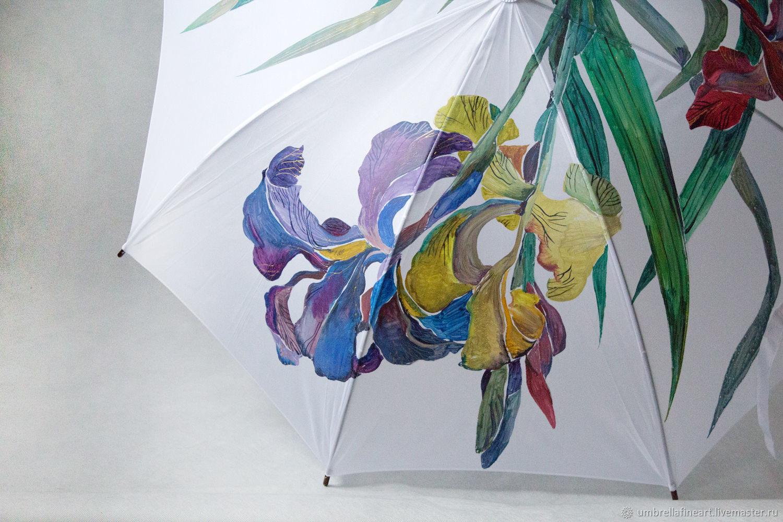 Umbrella cane with hand-painted 'Irises', Umbrellas, St. Petersburg,  Фото №1
