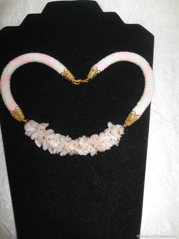 Колье жгут из розового кварца Наталия