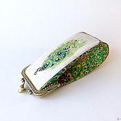 Сумки и аксессуары handmade. Livemaster - original item cases: Eyeglass case with clasp linen cotton print Peacock. Handmade.
