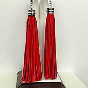 """Серьги-кисти ручной работы. Ярмарка Мастеров - ручная работа Серьги из кожи """"Кисточки"""" красные. Handmade."""