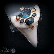 Украшения handmade. Livemaster - original item Amulet with a shark tooth with sapphires and fluorite Golden shark. Handmade.