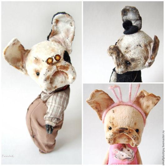 Мишки Тедди ручной работы. Ярмарка Мастеров - ручная работа. Купить Французские бульдожки Поля, Соня и Фил. Handmade. Комбинированный