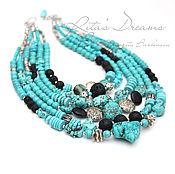 Украшения handmade. Livemaster - original item Multi-row turquoise boho necklace with volcanic lava, turquoise, black. Handmade.